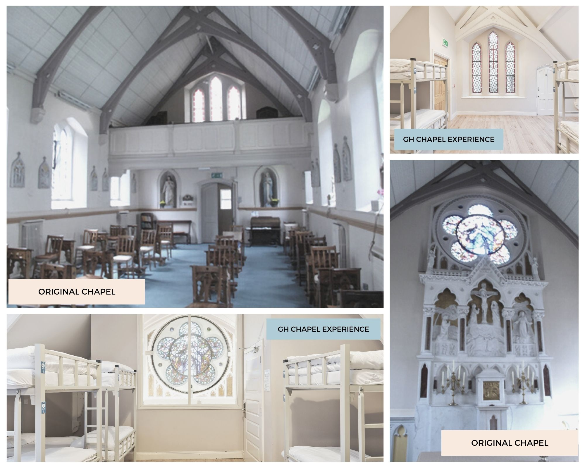 Images comparing original Chapel with Chapel Experience at the Gardiner House Hostel